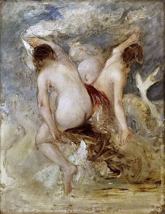 Three Female Nudes, sketch for an unknown work. William Etty