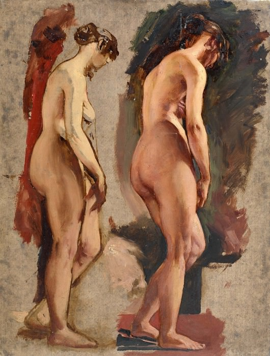 Two full-length standing female nudes. William Etty