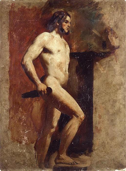 Male nude with dagger. William Etty