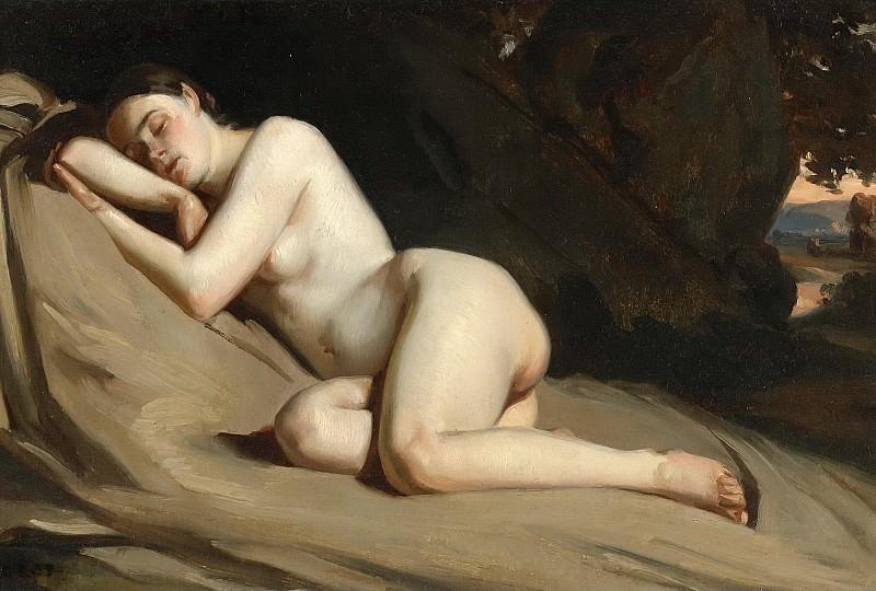 RECLINING FEMALE NUDE IN A LANDSCAPE. William Etty