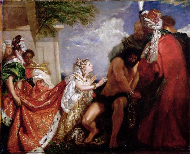 Delilah before the Blinded Samson. William Etty