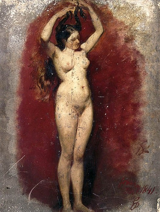 Standing female nude plaiting her hair. William Etty