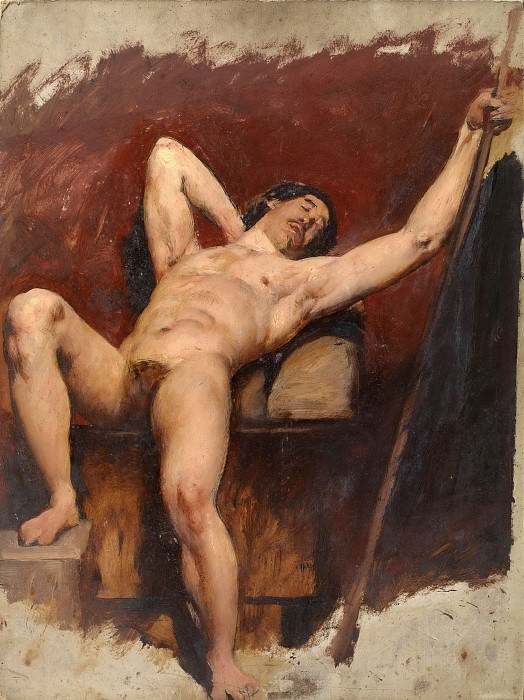 Reclining male nude. William Etty