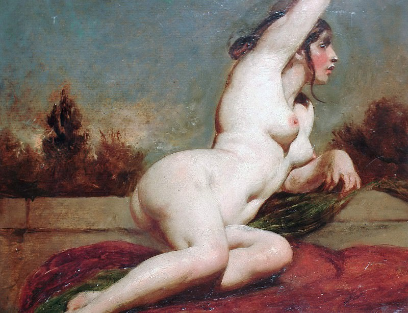Reclining female nude with landscape beyond. William Etty