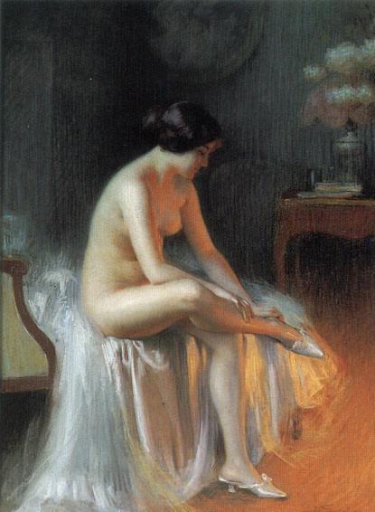 A nude by firelight. Delphin Enjolras