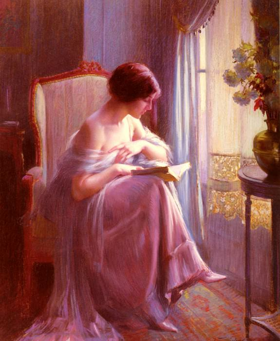 Young Woman Reading By A Window. Delphin Enjolras
