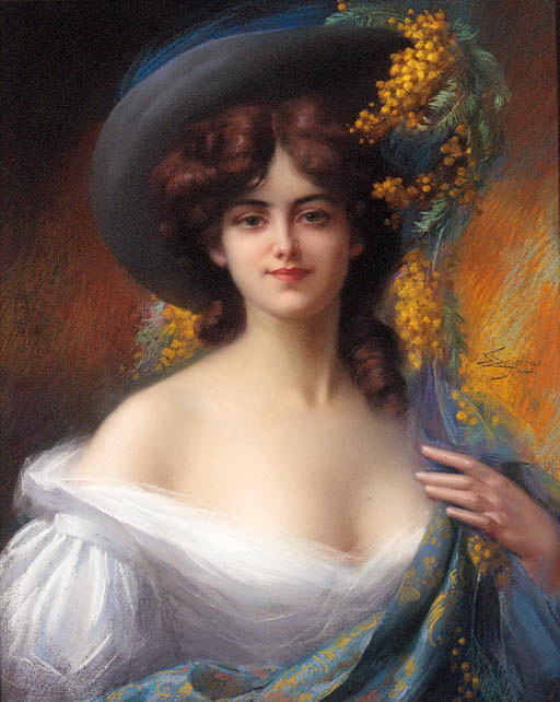 A Young Beauty In A Hat Decorated With Yellow Flowers. Delphin Enjolras