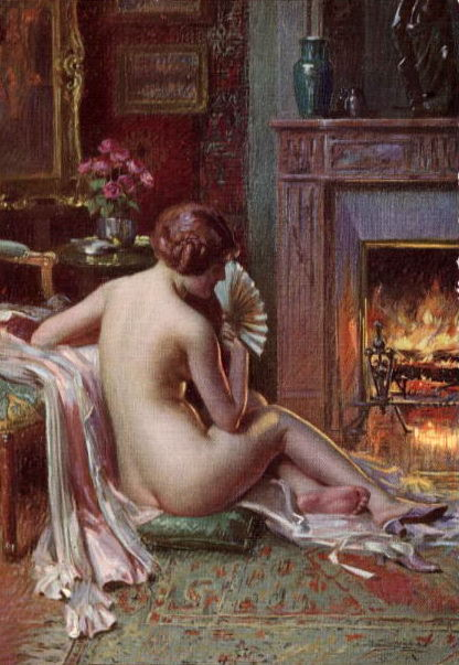 The Fire Side Nude Seated Beauty. Delphin Enjolras