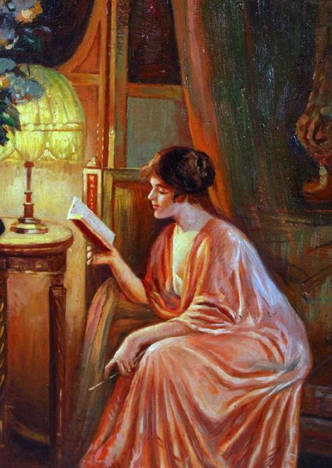 Lady Reading By Lamplight. Delphin Enjolras