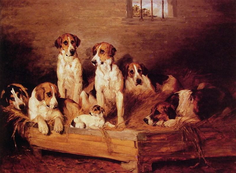 Foxhounds and terriers in a Kennel. John Emms