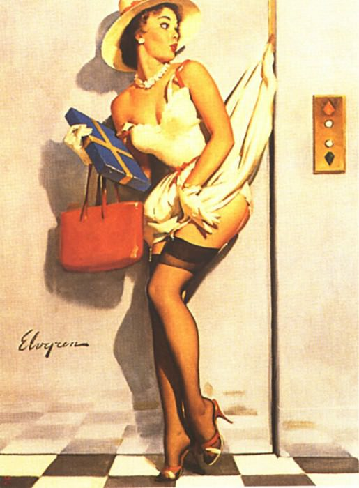 GCGEPU-053 1969 Going Up. Gil Elvgren