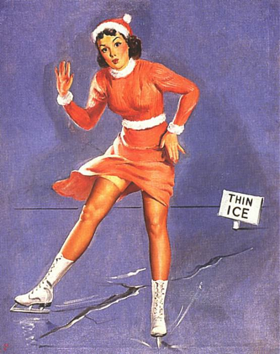 GCGEPU-017 1944 Thin Ice. Gil Elvgren