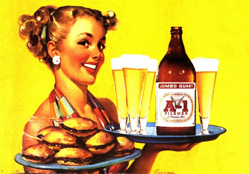GCGEPU-161 1950 Billboard advertising A-1 Pilsner Beer. Gil Elvgren