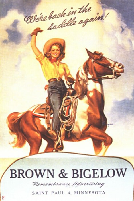 GCGEPU-077 1944 Back in the Saddle. Gil Elvgren