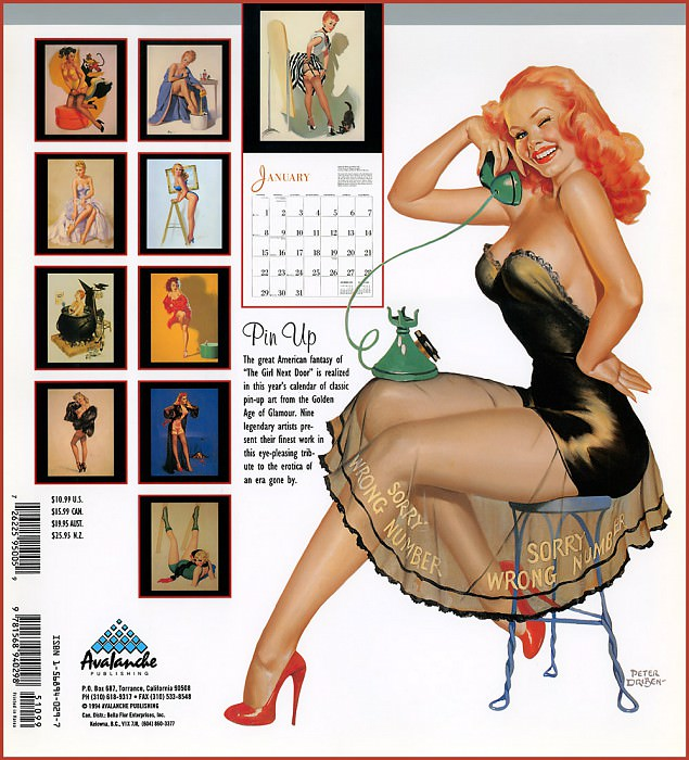 p Avalanche Pinup Cal1995 Back. Gil Elvgren
