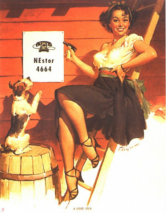 GCGEPU-071 1951 A Good Sign. Gil Elvgren