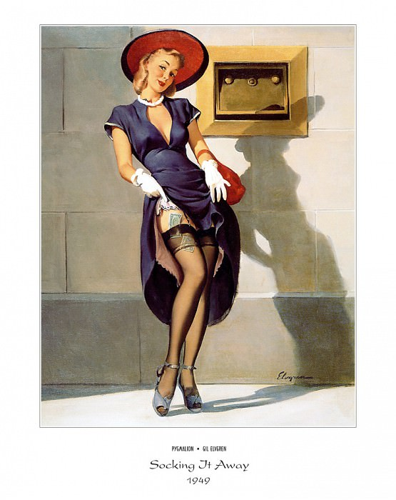 PYG GE 043 Socking It Away Investments Should Be 1949. Gil Elvgren