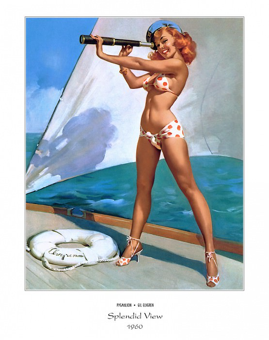 PYG GE 055 Splendid View Out to Sea 1960. Gil Elvgren