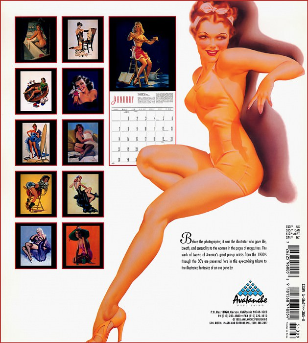 p Avalanche Pinup Cal1996 Back. Gil Elvgren