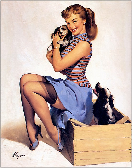 Cos 022 Gil Elvgren Puppy Love. Джил Элвгрен
