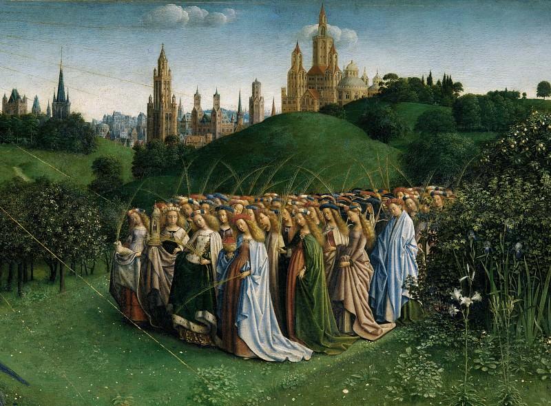 Adoration of the Lamb (detail - Holy martyrs). Jan van Eyck