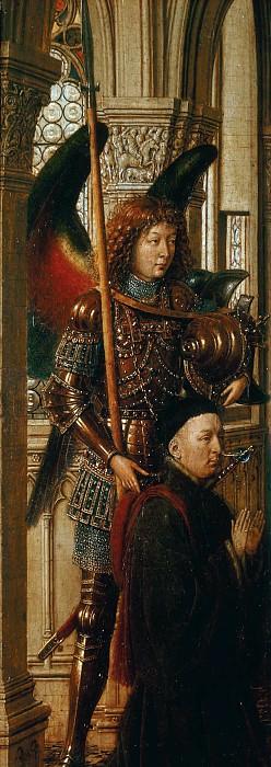 Dresden Triptych (Left wing - Archangel Michael with a donor). Jan van Eyck