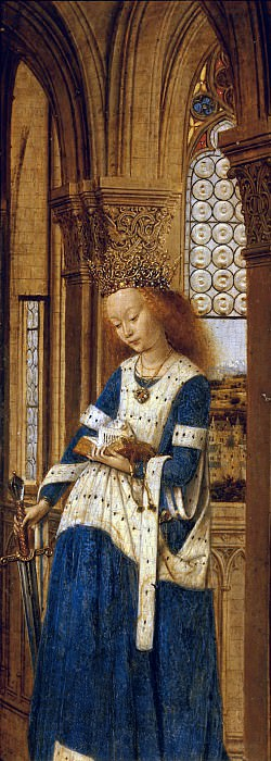 Dresden Triptych (Right wing - Saint Catherine of Alexandria). Jan van Eyck