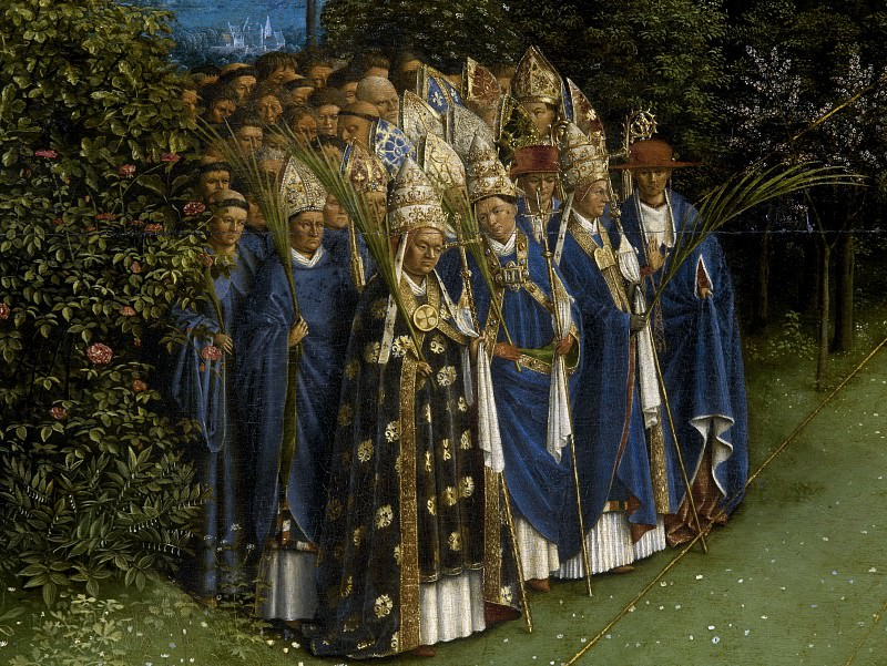 Adoration of the Lamb (detail - Confessors of the Faith). Jan van Eyck