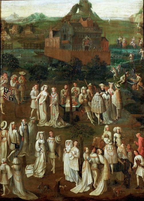 A Garden Party at the court of Burgundy. Jan van Eyck