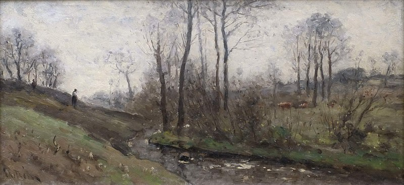 Landscape with a Running Brook. Scene from the Carolles in Normandy. Per Ekström