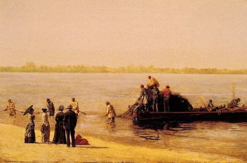 Ловля алозы в Глочестере на р.Делавэр. Томас Икинс