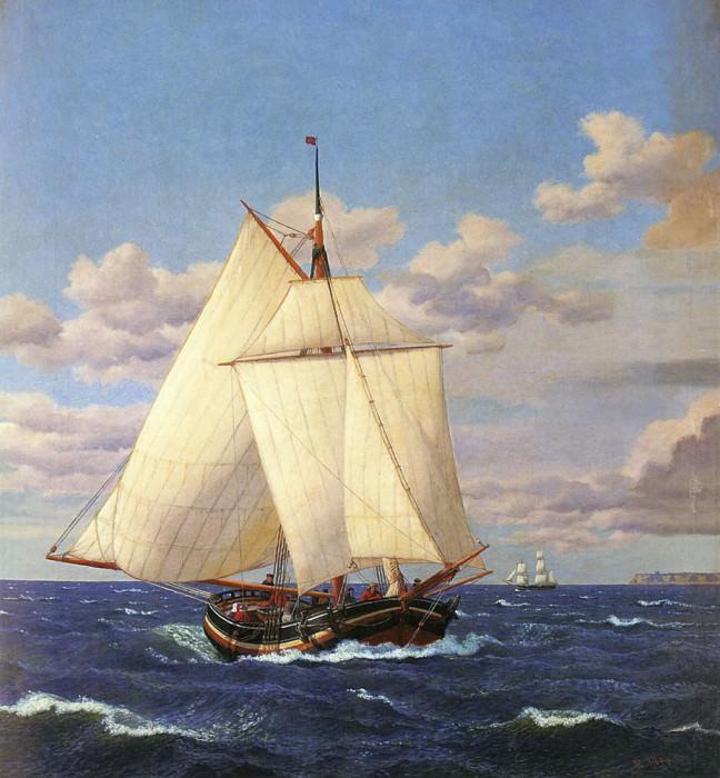 En Dansk Yacht Passerer Stevns. Christoffer Wilhelm Eckersberg
