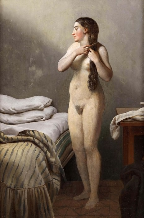 A quaint figure, standing by a bed, sews its hair. Christoffer Wilhelm Eckersberg