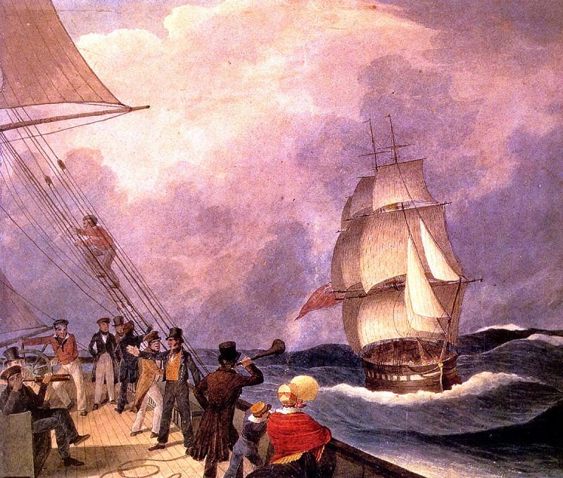 Разговор с судном, обогнувшим Мыс Доброй Надежды, 1824. Огастус Эрл