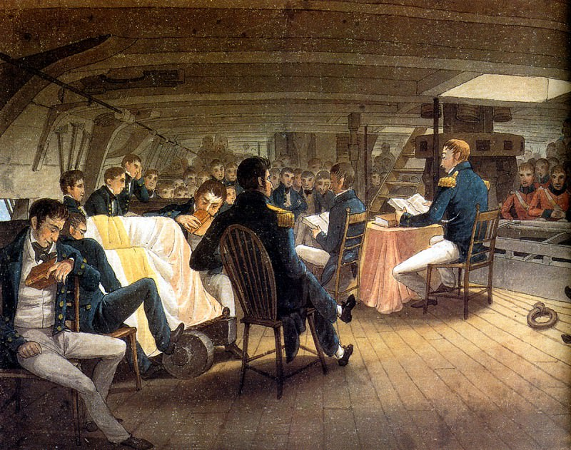 Divine Service on board a British Frigate, H.M.S. Hyperion, 1820. Augustus Earle