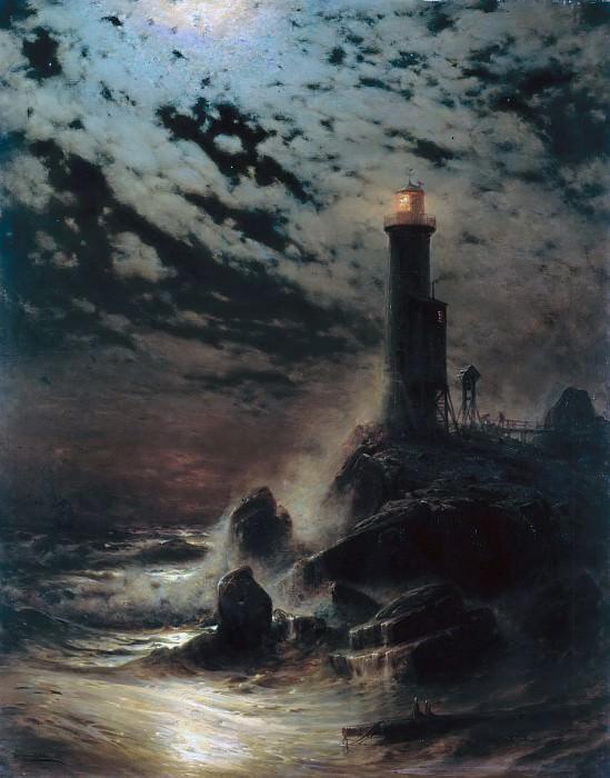 Маяк на скале в лунную ночь. Херман Эшке