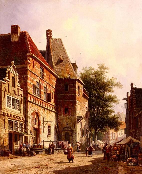 A Sunlit Street On Market Day. Adrianus Eversen