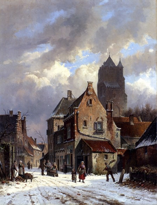 Figures In A Snowy Village Street. Adrianus Eversen