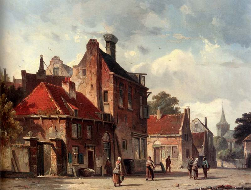 View Of Town With Figures In A Sunlit Street. Adrianus Eversen