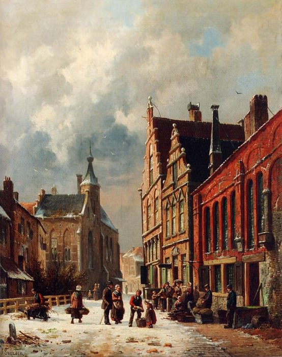 A View In A Town In Winter. Adrianus Eversen