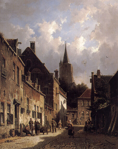 A Dutch Street Scene. Adrianus Eversen