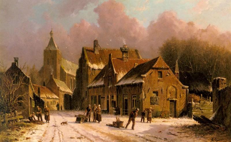 A Village In Winter. Adrianus Eversen