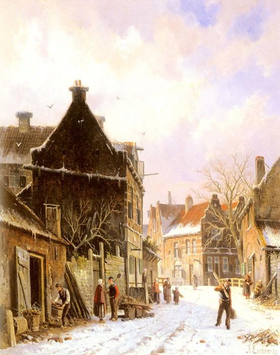 Сцена зимой на деревенской улице. Адриан Эверсен