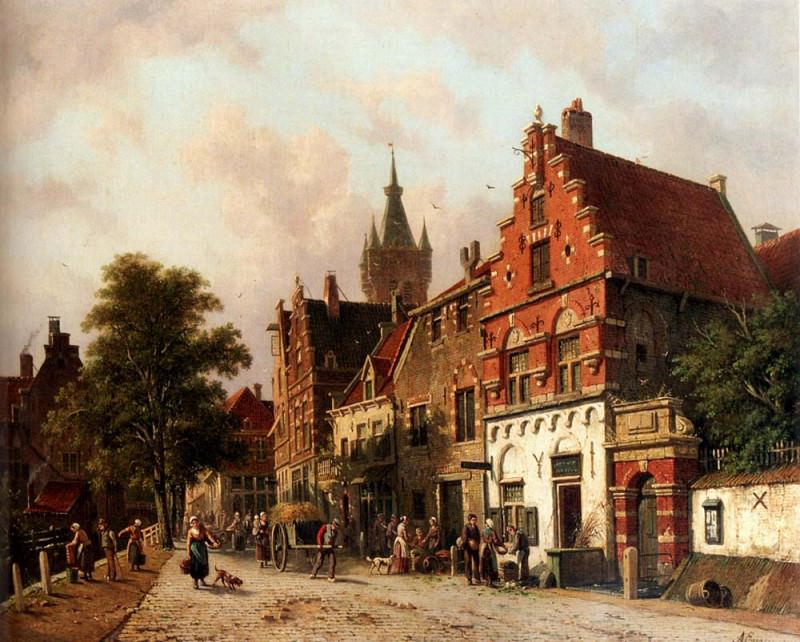 A View In Delft. Adrianus Eversen