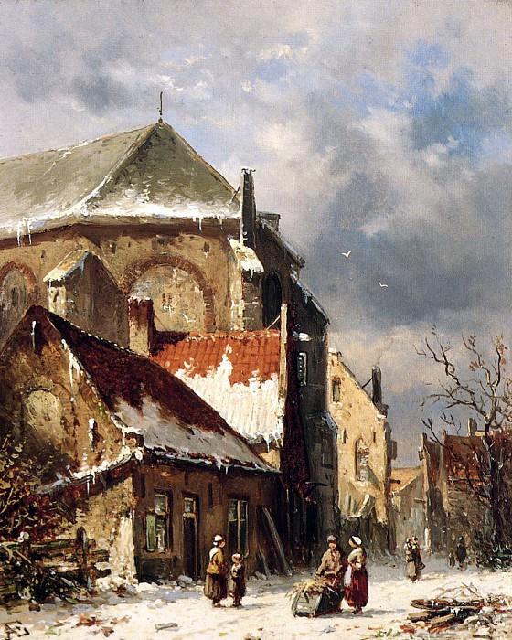 City view in the winter. Adrianus Eversen