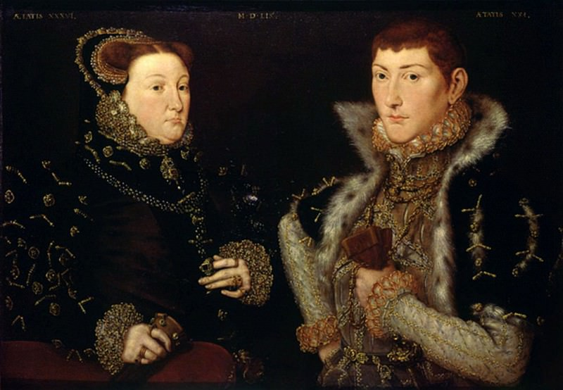 Lady Mary Nevill and her son Gregory Fiennes. Hans Eworth (Ewoutsz)