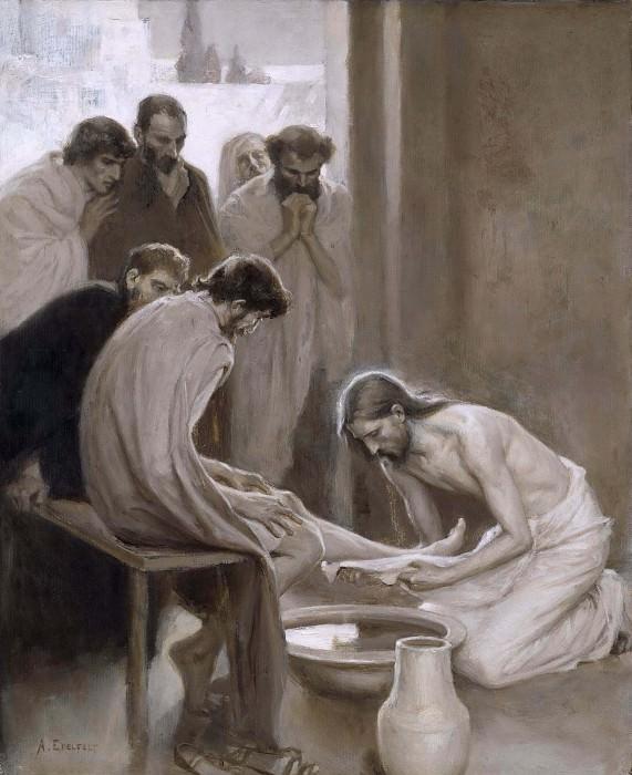 Jesus Washing the Feet of his Disciples. Albert Edelfelt