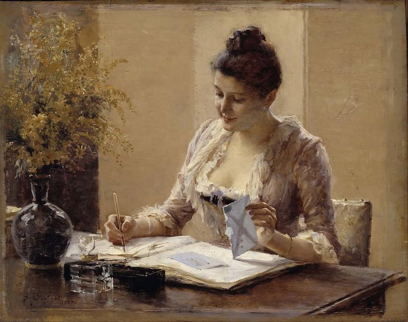 Lady Writing a Letter. Albert Edelfelt