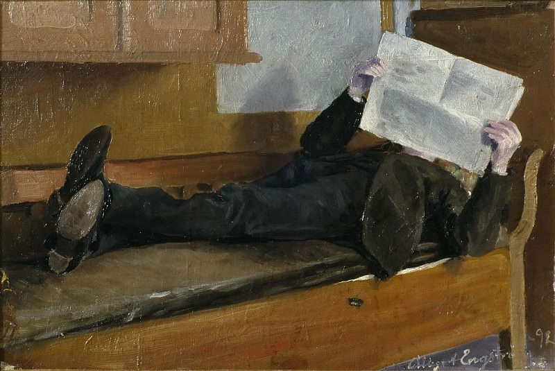 The Artist's Father, Reading a Newspaper. Albert Engström