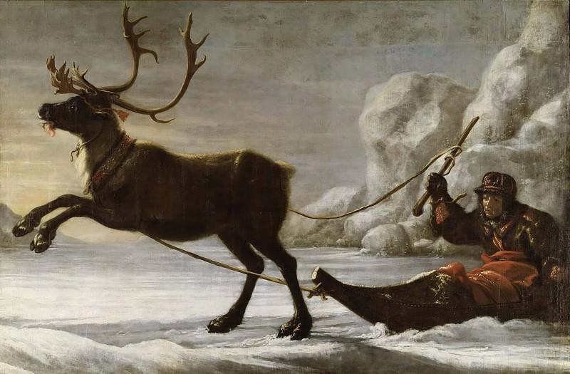 Reindeer with a sledge. David Klöcker Ehrenstråhl